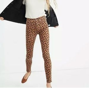NWT Madewell High Rise Skinny Brown Dot jeans